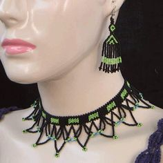 Black Green Egyptian Art Beaded Choker Necklace Earrings Bead Jewelry S27/1