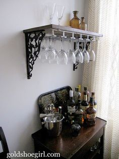 Gold Shoe Girl: Guest Post: DIY Wine Glass Rack & Beverage Center This would be great as a mini bar in patio room. Beverage Center, Wine Glass Holder, Wine Glass Storage, Cafe Bar, Glass Shelves, Bar Shelves, Crate Shelves, Shelf, Diy Furniture