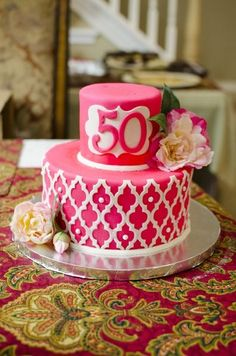 Pink Moroccan Lattice Birthday Cake: used Moroccan lattice onlay by Marvelous Molds Elegant Birthday Cakes, 50th Birthday Cake For Women, Pink Birthday Cakes, Mini Tortillas, Pretty Cakes, Beautiful Cakes, Cake Festival, 50th Cake, Indian Wedding Cakes