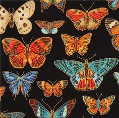 black butterfly & gold fabric by Robert Kaufman USA 1