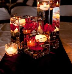 Wedding Centerpieces square glass vases, floating candles and red orchids Fall Wedding Centerpieces, Wedding Table, Wedding Decorations, Centerpiece Ideas, Red Centerpieces, Red Table Decorations, Floating Flower Centerpieces, Wedding Reception, Terrarium Centerpiece