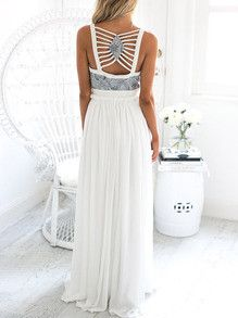 White Paisley Print Plunge V Neck Split Maxi Dress