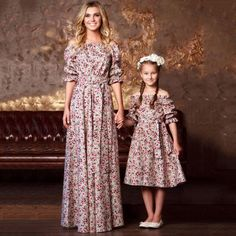 Hot Mother and Daughter Dress Striped Matching Mom Girls Madi Dress Family Skirt Mom Daughter Matching Dresses, Matching Family Outfits, Mom Dress, Baby Dress, Mother Daughter Fashion, Mommy And Me Outfits, Frack, Mode Hijab, Kind Mode
