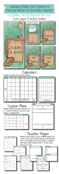***Updated for the 2016-2017 school year*** This stunning seascape shabby chic classroom organizer and planner is just what secondary teachers need to get prepared in style for the new school year!This product is EDITABLE in the form of PowerPoint and PDF so you can customize your pages, print off and create a teacher binder, or go digital and save it all on the cloud!