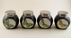 Set of 4 olive green with butterflies, jars of spices. Handmade decorated with Decoupage. Perfect gift for her.