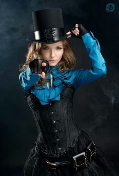Steampunk Victorian Girl by lahmat teas Love that bright blue and the black together.