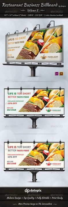 Restaurant Business Billboard Template #design #ads Download: http://graphicriver.net/item/restaurant-business-billboard-volume-5/7577798?ref=ksioks