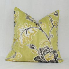 Green gray floral decorative throw pillow cover. by JoyWorkshoppe