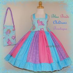 MLP My Little Pony Dress Purse Set - BBCB Boutique - 3/4T 4/5 - not custom - Birthday Horse Party Pastel @Heidi Robinson