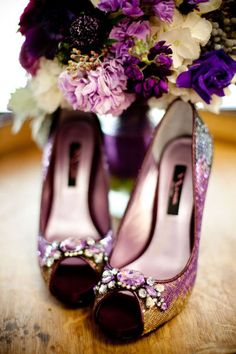 Purple & Gold - Sequined Wedding Shoes