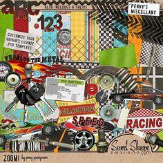 Digital Scrapbook Race car kit