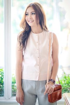 Begins Fronted Button Sleeveless Cotton Linen Blouse, Pink
