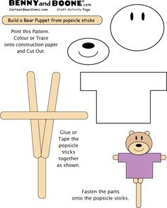 Build a Bear puppet from popsicle sticks. Color,   glue tape and cut out.