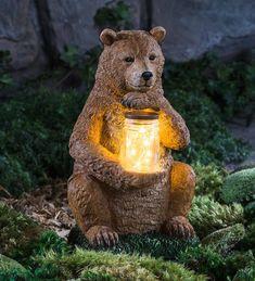 Woodland Animal Garden Sculpture with LED Jar - Bear Tree Carving, Wood Carving Art, Wood Art, Wood Sculpture, Garden Sculpture, Garden Totems, Glass Garden, Garden Statues, Black Bear Decor