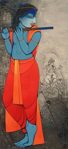 New wall painting landscape canvases 17 ideas Lord Ganesha Paintings, Krishna Painting, Krishna Art, Indian Folk Art, Indian Artist, Krishna Pictures, Indian Art Paintings, Landscape Paintings, Abstract Paintings