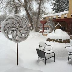 These wind sculptures are perfect in snow. Wind Sculptures, Winter Garden, Garden Art, Outdoor Spaces, Yard, Community, Snow, Landscape, Building