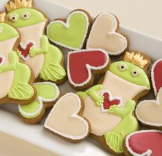 Frogs and Heart Valentine Cookies