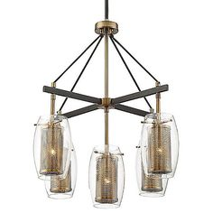 Designer Brian Thomas crafted the Savoy House Dunbar Chandelier which features oval clear glass and mesh inner shades. Its 2-tone Warm Brass finish with bronze accents help add to its industrial-chic appearance. Dunbar looks elegant in any modern dining room, kitchen or entryway.