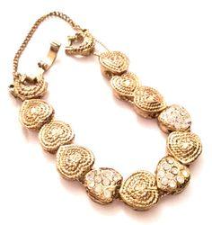 Heart Rhinestone Slide Bracelet Retro Vintage by OurBoudoir #vogueteam  #etsygifts #vintagejewelry