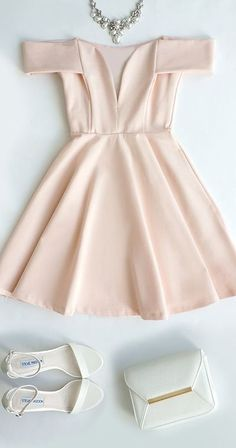 Cute Off-the-Shoulder Homecoming Dress, Light Pink Prom Dress,V-Neck Evening Dress,Party Dress