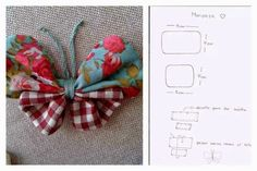 butterfly Fabric Tutorial, such a lovely way to make a fabric butterfly yoyo butterfly with pattern circles tied in the middle? Perfect to add to headband, purse or make it larger for the wall. nice idea as a gift topper Fabric Butterfly, Butterfly Pattern, Sewing Hacks, Sewing Crafts, Sewing Projects, Felt Flowers, Fabric Flowers, Fabric Origami, Creation Couture