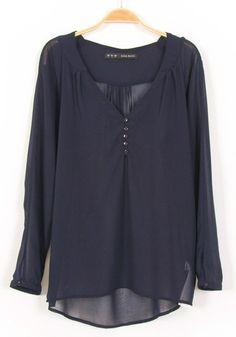 Dark Blue Plain Buttons Long Sleeve Chiffon Blouse
