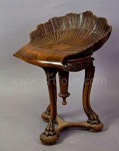 1075 Victorian Merklen Brothers Swivel Piano Stool On