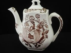 Child Staffordshire BROWN Transferware tea set FLAT PEAR TEAPOT MAY GIRL HAT EGG Girl With Hat, Teapots, Pottery Art, Tea Set, Pear, Child, Brown, Tableware, Hats