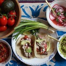 Roanne's Steak Tacos w/Pickled Red Onion & Radish, Salsa, Guacomole & Lima Crema