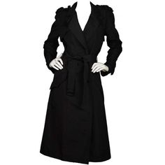 Preowned Chanel Black Silk Long Belted Trench Coat Sz 38 ($1,450) ❤ liked on Polyvore featuring outerwear, coats, black, double breasted coat, belted coat, long coat, long trench coat and double-breasted trench coat