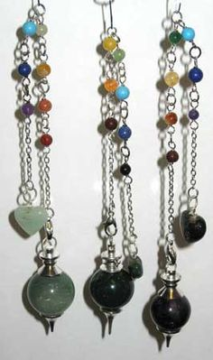 """Let the qualities of the various gemstones used in these pendulums aid you in your divinations by enhancing your intentions with their own power. The pendulums are approximately 1"""" long and 8""""  long overall with chain. The chains have Chakra stones strung  over length of the chain. This item comes in a variety of different gemstones and other stones with mystic properties, including: Rose Quartz, Amethyst, Clear Quartz, Green Onyx, Moonstone and more. Variety chosen based upon availabi…"""