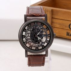 Cheap mujer, Buy Quality mujer reloj directly from China mujer dress Suppliers: Fashion Business Skeleton Watch Men Engraving Hollow Reloj Hombre Dress Quartz Wristwatch Leather Band Women Clock Relojes Mujer Fashion Business, Watch Engraving, Skeleton Watches, Audemars Piguet, Bracelet Cuir, Bracelet Men, Casual Watches, Luxury Watches For Men, Rolex Datejust