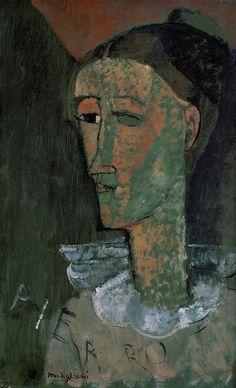 Amedeo Modigliani, Pierrot (Self Portrait as Pierrot), 1915, oil on cardboard, 43 x 27 cm