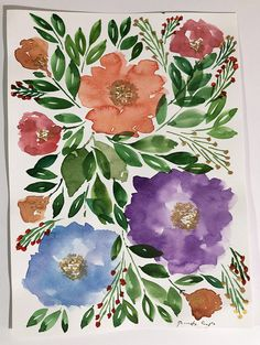 Items similar to x Hand painted flowers - Original Painting on Etsy Watercolor Paper, Watercolor Paintings, Original Paintings, Painted Flowers, Inspirational Gifts, Paper Size, Unique Art, Farmhouse Decor, Best Gifts