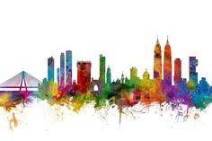 Watercolour Digital Art - Mumbai Skyline India Bombay by Michael Tompsett
