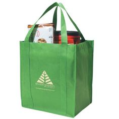 "The Custom Branded Eco Grocery Tote is recyclable, reusable, and hand washable. It has reinforced 20"" Handles and a 10"" Gusset With Matching Covered Bottom Insert"