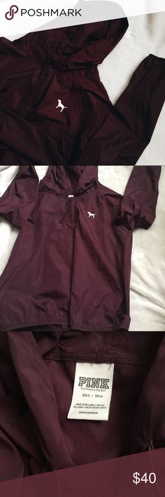 Maroon VS Pink Half Zip Anorak i traded for this hoping that the size was the problem for the fit of the anoraks but the material just doesn't sit well on me😩😩i'll only trade for my current VS or Brandy ISO. The only flaw is a little cracking on the dog logo. Size Xs-S.  〰NO holds, lowballs, merc, or dpop〰 ✔️ppal, v into ed, trades for my iso✔️ ♠️i ship in 1-2 days. please do not buy if you do not accept packages when you receive them, i do not get paid until you accept the order or posh…