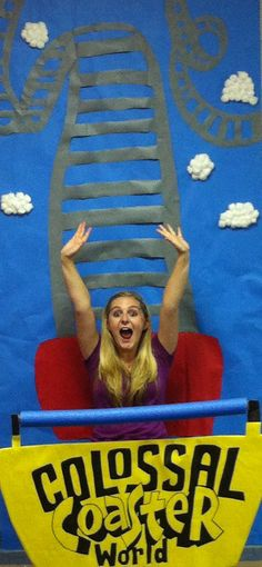 Would make a great prop to take student pics on first day.Now to come up with a clever caption. Toddler Roller Coaster, Roller Coaster Theme, Roller Coaster Decorations, Fall Carnival, Carnival Themes, Circus Theme, School Carnival, Circus Classroom, Preschool Classroom
