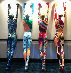 Mannequins body painted on display at a hotel in Chicago