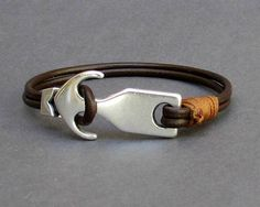 d99fa2cfe223 Anchor Bracelet Nautical Mens Leather Bracelet