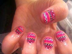 Lovely bright Aztec nails