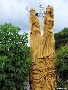 Tree Stump Carving of Fairies | Chainsaw wood sculptor transforms trees felled by wind