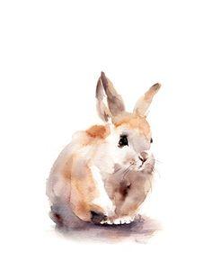 Bunny Art Print Aquarell von Hase Kaninchen von CanotStopPrints