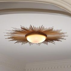 The Sunburst Light Fixture by Global Views is a flush mount ceiling fixture that adds a bold and dramatic ambiance. The frosted glass creates a more soft and subtle lighting effect while the gold finish creates a more glamorous feel. If looking to make a statement, look no further the Sunburst Light Fixture by Global Views will do just that. Luxe Home, a Philadelphia modern furniture store, has a wide range of Global Views lighting units that will fit your own unique style.