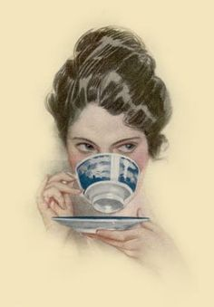 """""""Over the Teacup"""" Harrison Fisher illustration, love my tea cup and saucer. Vintage Postcards, Vintage Images, Vintage Tea, Vintage Ladies, Vintage Party, Cuppa Tea, Drinking Tea, Sipping Tea, Tea Time"""