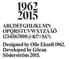 Eksel. A font designed by Olle Eksell