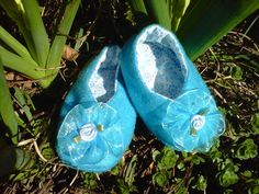 Turquoise and Rosebuds Baby Girl Slippers by Heartfeltfound, $28.00