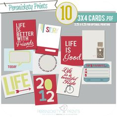Free cards Persnickety Prints Blog: Project Life