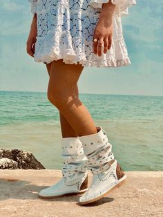 Summer Boots Riccione Style Made in Italy Handmade 100% Leather Top Ten Boots Bohoo Bohemian