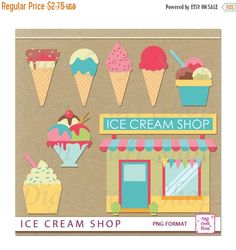 This listing is for digital clipart images. Perfect for creating your own Scrapbook pages, card making, stationary, craft projects, recipe cards, wrapping paper, invitations, party supplies (cupcake toppers, candy wrappers and banners). File Contents: - Clip Art File contains 8 images in PNG format. Sizes vary  * Ice Cream Shop  * Ice Cream Sundae  * Ice Cream Cones  Images will not have drop shadows. Each file contains 1 image on each page. Files come in zipped folder. Files are high…